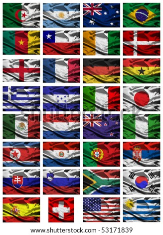 All of the nations competing at the 2010 soccer tournament in south africa - stock photo
