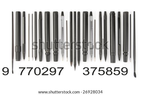 All pencil, pen, marker and brushes arranged like barcode.