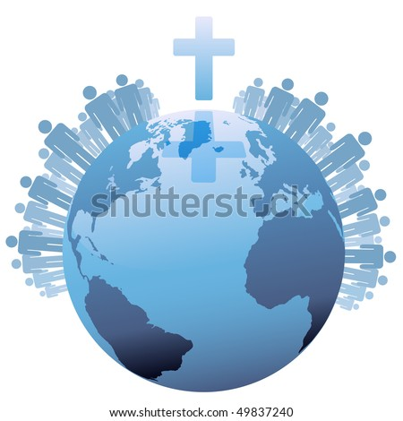 All People World Global Christian Population Stock Illustration - Christian population