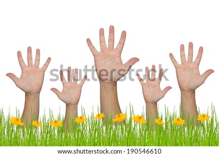 All people raise hands - stock photo