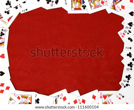 all playing cards and place for the text in center - stock photo