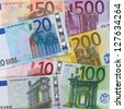 All present Euro banknotes forming a money background - stock photo