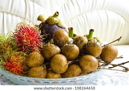 All seasons Thai fruits mangosteen,rambutan and longan - stock photo