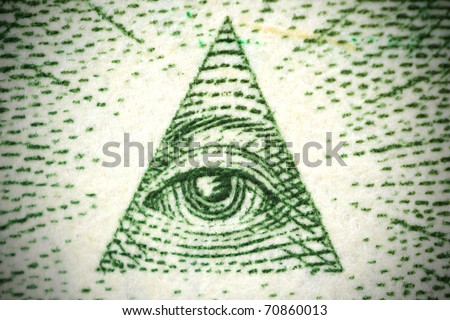 all seeing eye from a 1 dollar bill - stock photo