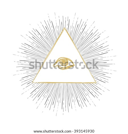 All Seeing Eye Illustration. Raster version - stock photo