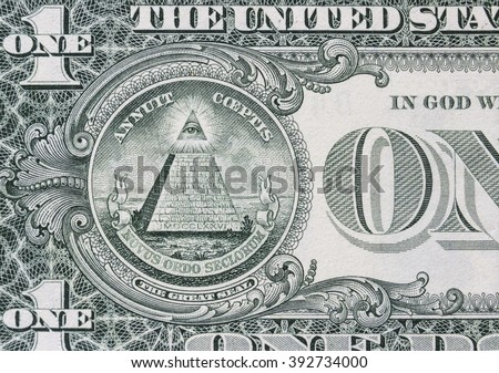 all-seeing eye on the dollar  - stock photo