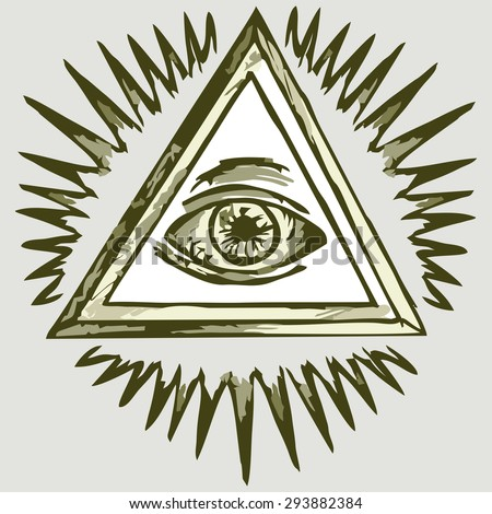 All seeing eye. Shades of green and yellow. Raster version