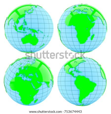 All side of Earth. Isolated on white. 3d illustration