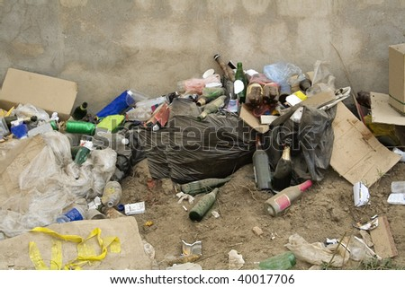 All sorts of rubbish a waste disposal site - stock photo