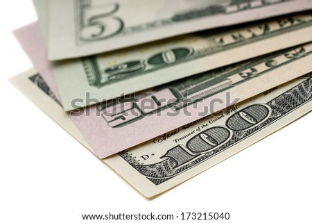 All stack type of american dollars on white background