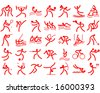 all summer Olympic sports red silhouette - stock vector