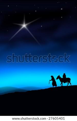 All the way from Nazareth to Bethlehem - stock photo