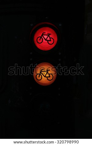 All three lights as a traffic sign in the city. Red orange green colored traffic lights as a background - stock photo