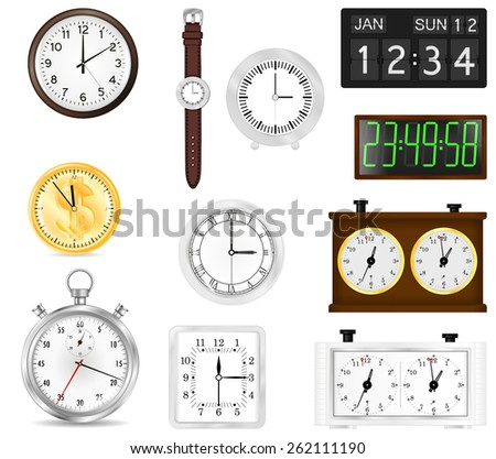 All types of time indication: clocks, watch, stopwatch, flip clock, chess clock, digital clock   isolated on white background. Raster version - stock photo