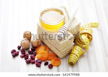 all you need for diet - diet and breakfast - stock photo