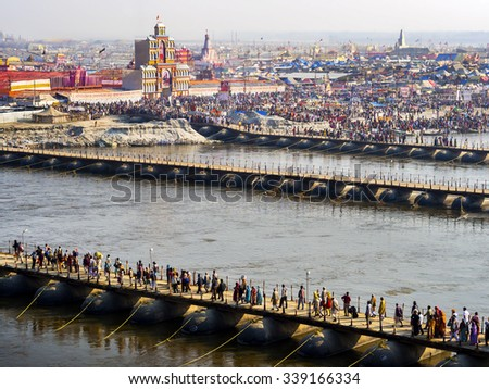 Allahabad, India - February 9, 2013: Aerial view of Kumbh Mela festival, the world's largest religious gathering, in Allahabad, Uttar Pradesh, India.