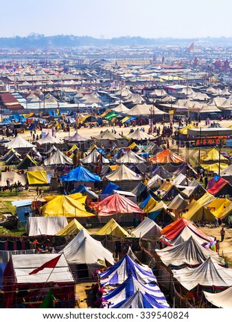 Allahabad, India - February 8, 2013: Aerial view of Kumbh Mela festival, the world's largest religious gathering, in Allahabad, Uttar Pradesh, India. - stock photo