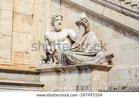 Allegoric Statue of Tiber River, Rome - stock photo