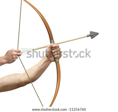 Allegory of an archer preparing to release arrow - stock photo