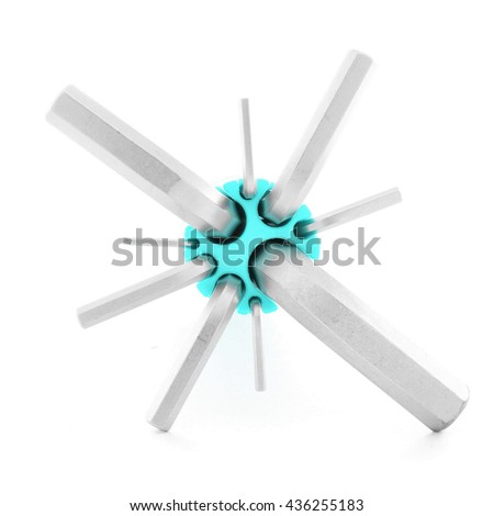 Allen wrench, metal tool for industry, isolated, on white background