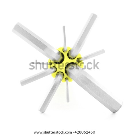 Allen wrench, metal tool for repair, isolated, on white background