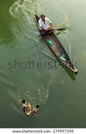ALLEPPEY, INDIA - APR 03 : Unidentified duck farmer in a boat guides his ducks in the backwaters on April 03, 2015 in Alleppey, India.Duck farming is a major activity in backwater regions of Alleppey - stock photo