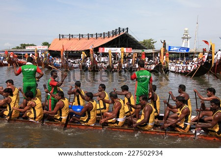ALLEPPEY, INDIA - AUG 09 : Snake boat teams participate in the most popular Nehru Trophy Boat race held in August 09, 2014 in Alleppey,Kerala, India. - stock photo