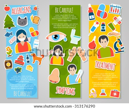 Allergies vertical banner set with allergen disease symptoms stickers isolated  illustration - stock photo