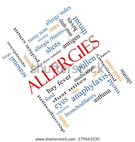 Allergies Word Cloud Concept angled with great terms such as food, pollen, mold and more. - stock photo