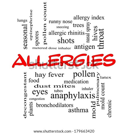 Allergies Word Cloud Concept in red caps with great terms such as food, pollen, mold and more. - stock photo
