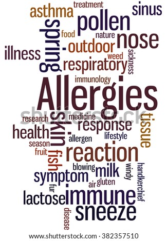 Allergies, word cloud concept on white background.