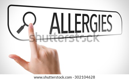 Allergies written in search bar on virtual screen - stock photo