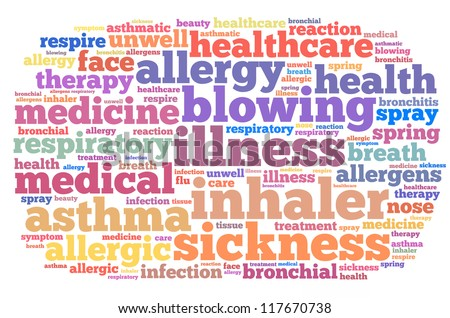 Allergy and asthma info-text graphics and arrangement concept on white background (word cloud)
