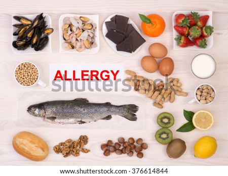 Allergy causing foods - stock photo