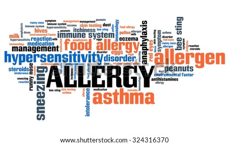 Allergy - health concepts word cloud illustration. Word collage concept.