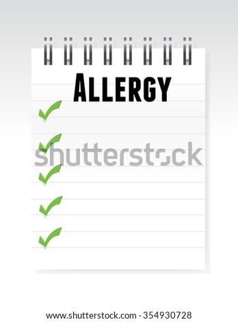 allergy list note paper illustration design graphic - stock photo