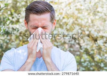 Allergy, Springtime, Man - stock photo
