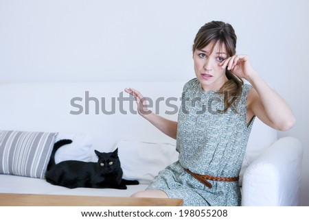 Allergy, woman - stock photo