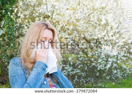 Allergy, woman, springtime - stock photo
