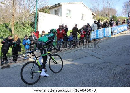 ALLEX, FRANCE - MAR 02: Thomas Voeckler, Europcar, riding La Classic Drome UCI Europe Tour Pro Race on March 02, 2014 in Allex Hill, Drome, France. Romain Bardet won the race. - stock photo