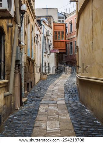 Alley at Inner City of Baku, Azerbaijan - stock photo