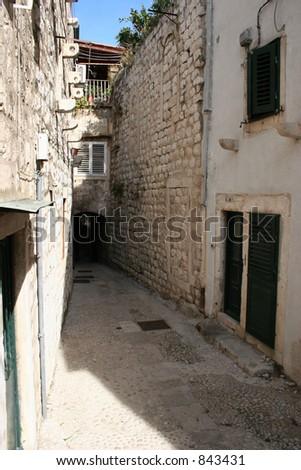 Alley in Dubrovnik, Croatia. - stock photo