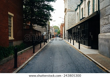 Alley in Harrisburg, Pennsylvania. - stock photo