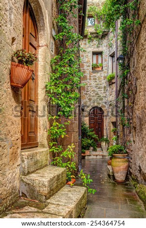 Alley in old town Pitigliano Tuscany Italy - stock photo