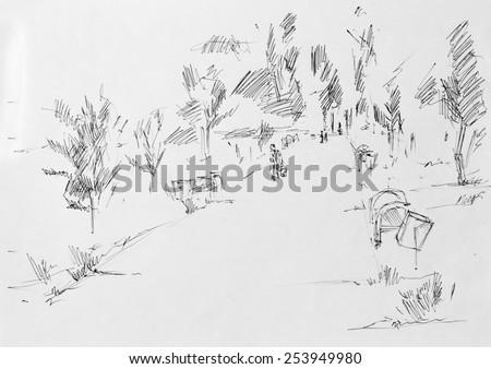 Alley in park, sketch pencil - stock photo