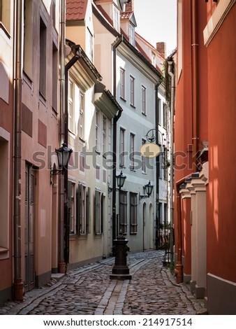 Alley in Riga - stock photo