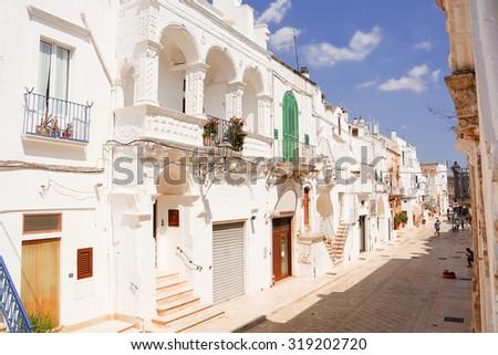 Alley of Cisternino in Puglia (Italy) - stock photo