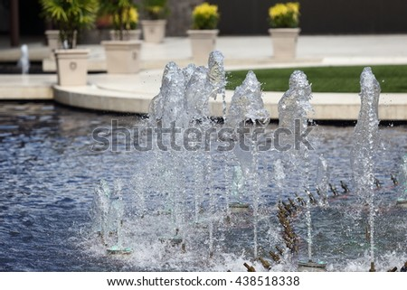Alley of fountains in Hotel Pool - stock photo