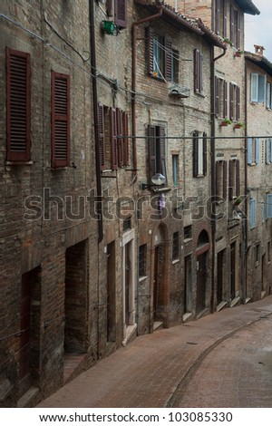 Alley of the ancient town of Urbino, Italy