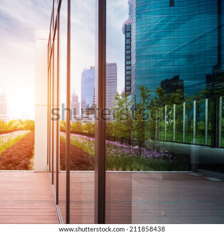 Alley with office buildings at shanghai - stock photo